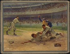 Bresnahan tagging out a runner while Christy Mathewson and John McGraw watch in Out at Home, by Fletcher C. Ransom