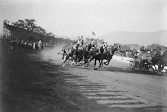 A Chariot Race during the 1908 or 1911 Tournament of Roses; later replaced by the Rose Bowl Game