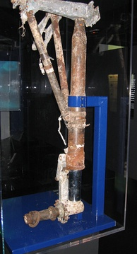 The left main landing gear of Saint-Exupéry's F-5B Lightning, recovered in 2003 from the Mediterranean Sea off the coast of Marseille, France.