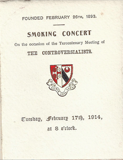 Programme for a 1914 smoking concert of the Controversialists