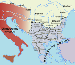 Polities in southeastern Europe c.520 AD before the Lombard destruction of the Herulian 'kingdom'