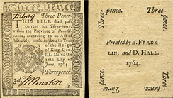 Pennsylvania colonial currency printed by Franklin in 1764