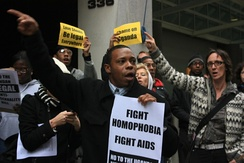 Protests in New York City against Uganda's Anti-Homosexuality Bill.