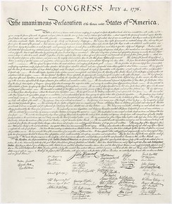U.S. Declaration of Independence ratified by the Continental Congress on 4 July 1776