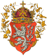 Ströhl's unofficial artwork of the Coat of arms of the kingdom (with the Crown of Saint Wenceslas, Bohemian Crown Jewels part)
