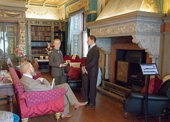 One of the groups of wax figures in the castle; Lord Brooke, a young Winston Churchill and Spencer Cavendish
