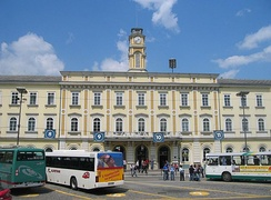 Ljubljana Bus Station and the building of the Ljubljana Railway Station in the background