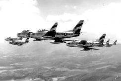 196th FIS F-86As in formation, 1954
