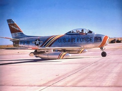 563d TFS F-86F, F Ser. No. 53-1111, about 1955. Note Wing Commander's markings on aircraft.