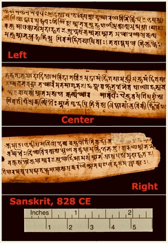 One of the oldest surviving Sanskrit manuscript pages in Gupta script (~828 CE), discovered in Nepal