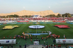 Match between Australia and Syria during the 2019 AFC Asian Cup, with Jabal An-Naqfah in the background