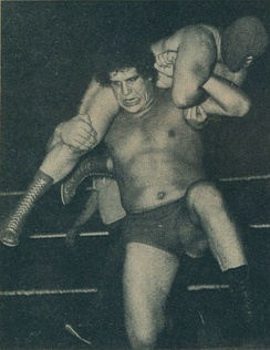 "Roussimoff wrestling a ""local competitor"" in June 1973"
