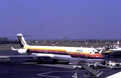 Air Cal jet at John Wayne Airport, 1981