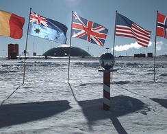 "The ""ceremonial"" South Pole, at Amundsen–Scott Station"