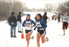 Athletes taking part in a race on a snowy park in the U.S.
