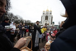 The blessing of the Easter baskets in Kaliningrad