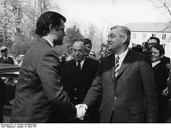 Senator Kennedy meeting with Justice Minister Horst Ehmke at Bonn, West Germany, in April 1971