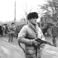 Armed civilians during the Romanian Revolution. The revolution was the only violent overthrow of a Communist state in the Warsaw Pact.
