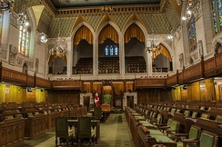 A democratically elected body, the House of Commons of Canada is one of three components of the Parliament of Canada.