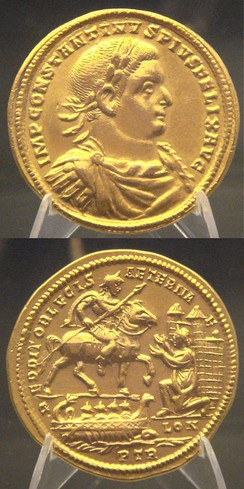 Medal of Constantius I capturing Londinium (inscribed as LON) after defeating Allectus. Beaurains hoard.