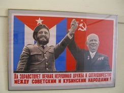 1960s Cuba-Soviet friendship poster with Fidel Castro and Nikita Khrushchev