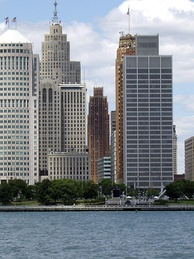 The Detroit Financial District viewed from Windsor, Ontario