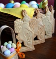 Easter bunnies and Easter eggs as Easter biscuits