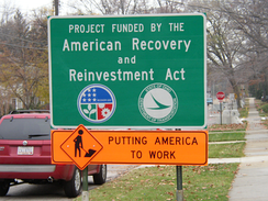 "A ""Project funded by The American Recovery and Reinvestment Act"" project sign"