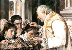An 1881 Polish painting of a Roman Catholic priest sprinkling ashes on the heads of worshippers, the form prevailing in, for instance, Italy, Spain, and parts of Latin America[26]