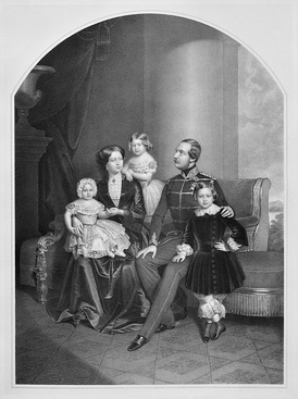 George V of Hanover, his wife Marie of Saxe-Altenburg and their children Ernest Augustus, Crown Prince of Hanover, Princess Frederica of Hanover, and Princess Marie of Hanover