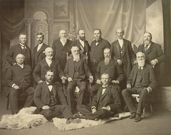 The First Presidency and the Twelve Apostles in September 1898.