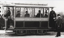Gross-Lichterfelde Tram in 1882. Early electric trams operated by the company lacked overhead wires, drawing current from the rails.