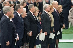 Nixon's funeral on April 27, 1994, was attended by President Bill Clinton and First Lady Hillary Clinton, accompanied by former U.S. Presidents (right to left) Gerald Ford, Jimmy Carter, Ronald Reagan and George H. W. Bush, with Betty Ford, Rosalynn Carter, Nancy Reagan and Barbara Bush respectively.
