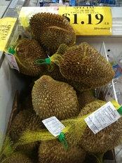 "Frozen durian fruit grown in East Asia at a Chinese grocery in Ottawa, Ontario, Canada. Grocery stores specializing in imported so-called ""ethnic"" foods are popular in many immigrant communities, offering imported food that large supermarket chains do not"