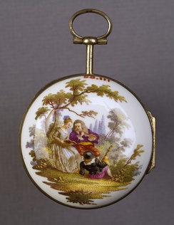 This Meissen watchcase is decorated with a scene of a man playing a flute, a girl singing and a second man reclining, holding the neck of a stringed instrument, Walters Art Museum.
