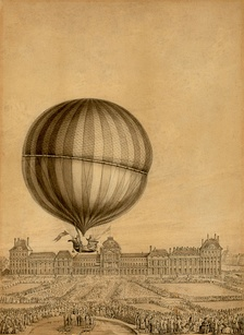 Contemporary illustration of the first flight by Professor Jacques Charles, December 1, 1783