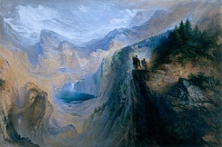 Manfred on the Jungfrau (1837), John Martin. Watercolor painting