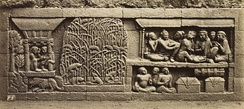 Bas-relief of Karmawibhanga of 9th century Borobudur describe rice barn and rice plants being infested by mouse pestilence. Rice farming has a long history in Indonesia.