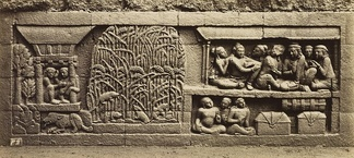 Bas-relief of Karmawibhanga of 9th century Borobudur depicts a rice barn and rice plants being infested by mouse pestilence. Rice farming has a long history in Indonesia.