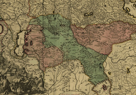 Map of the Russian Empire created in 1720–1725; this fragment shows the neighboring Kalmyk State (highlighted in green) which is referred to by Western scholars as Dzungarian Khanate