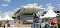 The Kensington Oval cricket ground in Barbados also uses a very wide aluminium windscoop.[19]