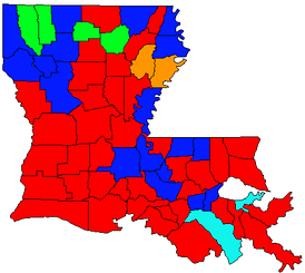 Parishes won by gubernatorial candidates in the October 21, 1995 jungle primary. .mw-parser-output .legend{page-break-inside:avoid;break-inside:avoid-column}.mw-parser-output .legend-color{display:inline-block;min-width:1.25em;height:1.25em;line-height:1.25;margin:1px 0;text-align:center;border:1px solid black;background-color:transparent;color:black}.mw-parser-output .legend-text{}  Mike Foster (38)   Cleo Fields (18)   Buddy Roemer (4)   Mary Landrieu (2)   Phil Preis (2)