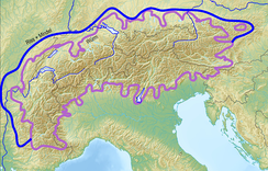 Extent of Alpine glaciation during the Würm ice age. Blue: extent of the early ice ages: