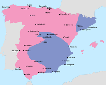 Map showing Spain in July 1938:  Area under Nationalist control  Area under Republican control