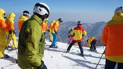 Foreign tourists in Masikryong Ski Resort