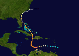 Map plotting the track and the intensity of the storm, according to the Saffir–Simpson scale