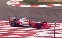McNish's Toyota engine fails at the 2002 French Grand Prix.