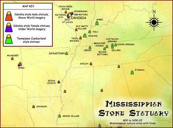 Map showing geographical extent of Mississippian stone statues