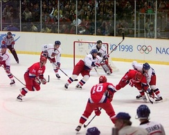 The men's ice hockey gold medal game: Russia vs Czech Republic.