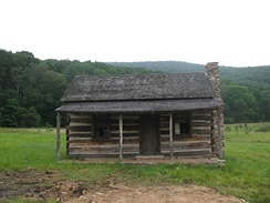 Replica of Joseph Hanks's cabin at Mike's Run in what is now Mineral County, West Virginia. The cabin was rebuilt in 1927 for the Nancy Hanks Memorial.